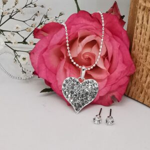 Silver CZ Encrusted Heart Necklace Set
